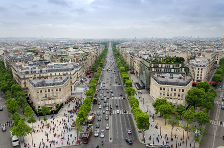 View of the Champs Elysees from the Arc de Triomphe in Paris, France