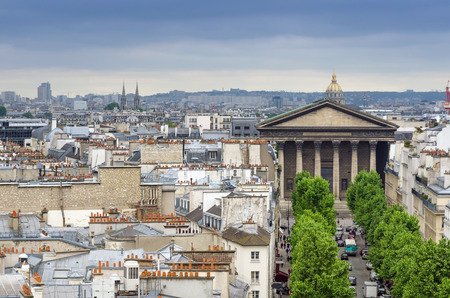 the madeleine: Madeleine Church with Paris Skyline, France