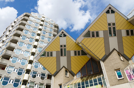 dweling: Pencil tower and cube houses in the center of the Rotterdam, The Netherlands