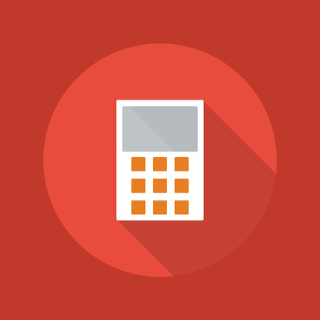 Business Flat Icon With Long Shadow. Calculator