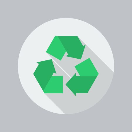 recycle icon: Eco Flat Icon With Long Shadow. Recycle Illustration