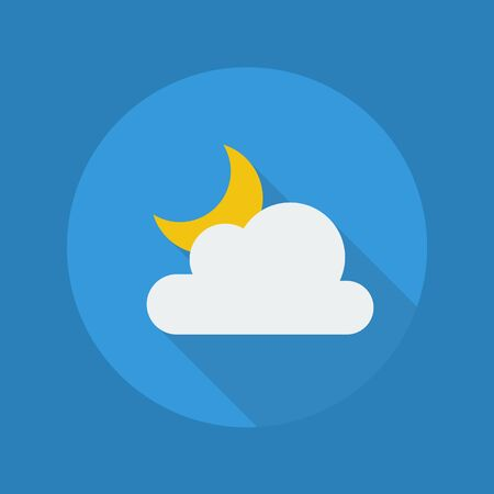 long night: Weather Flat Icon With Long Shadow. Partly Cloudy Night