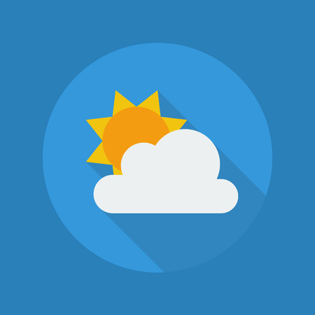 partly: Weather Flat Icon With Long Shadow. Partly Cloudy