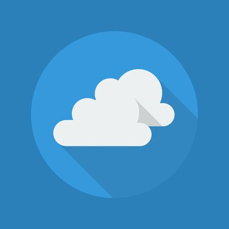 Weather Flat Icon With Long Shadow. Very Cloudy