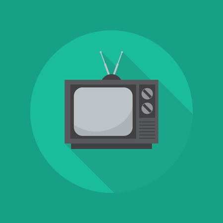 a cartoon film: Technology Flat Icon With Long Shadow. Television Illustration