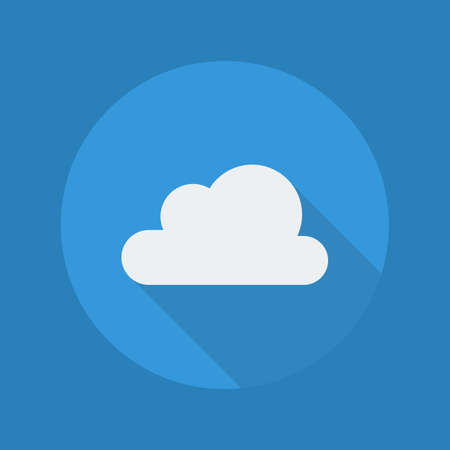 cumulus: Weather Flat Icon With Long Shadow. Cloudy Illustration