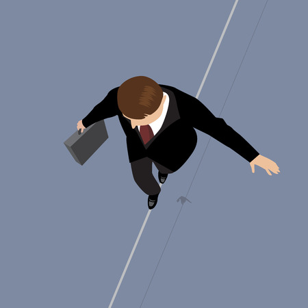 risk management: Business Man on a Wire. Risk Management Concept