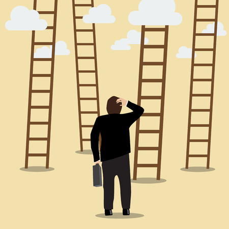choose: Business Man Choose the Ladder to Success. Business Concept