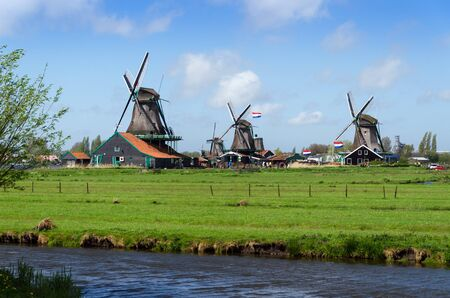wind mills: Tourist Destination, Wind mills in Zaanse Schans, The Netherland.