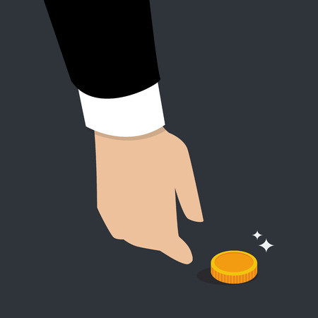 hand hold: Business hand pick up a coin on a floor