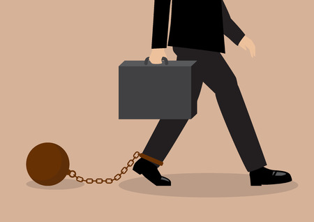 stress ball: Chained businessman. Business situation concept. Illustration
