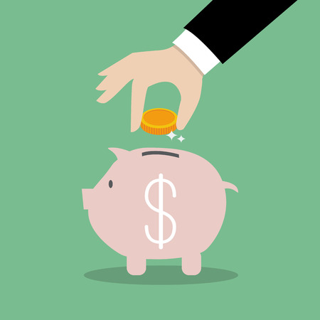Business Hand Collect Money In Piggy Bank. Financial Business Concept