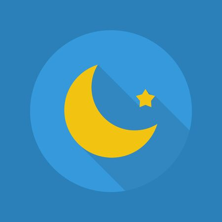 long night: Weather Flat Icon With Long Shadow. Moon