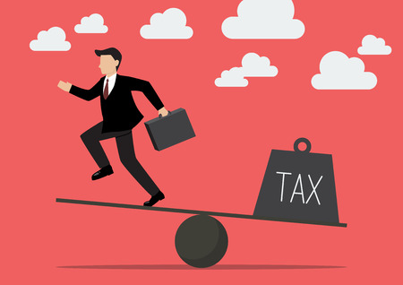 runing: Businessman balancing with Tax. Business Concept