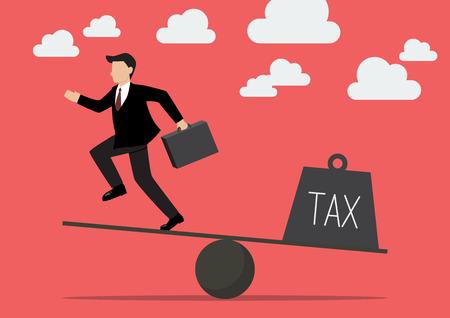 runing: El hombre de negocios que balancea con impuestos. Concepto de negocio