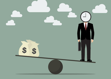 Businessman balancing with time and money.