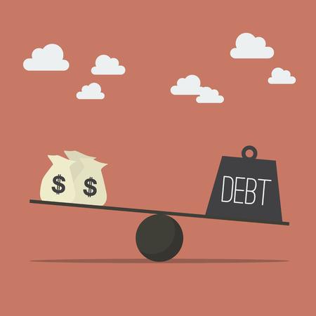 収入と負債のバランス。  イラスト・ベクター素材