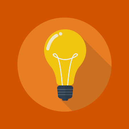 Education Flat Icon With Long Shadow. Light Bulb