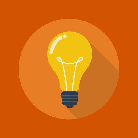 Bildungs-flache Ikone mit langem Schatten. Die Glühbirne Standard-Bild - 43279762