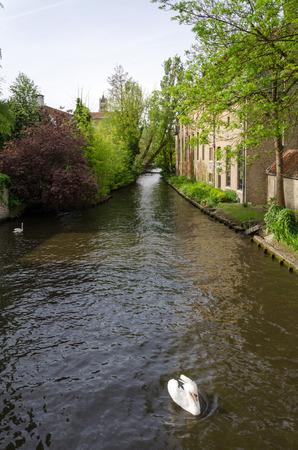 bruges: River of Begijnhof in Bruges, Belgium
