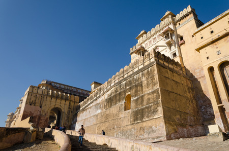 amber fort: Jaipur, India - December 29, 2014: Tourists visit Amber Fort near Jaipur, Rajasthan, India on December29, 2014. The Fort was built by Raja Man Singh I. Editorial