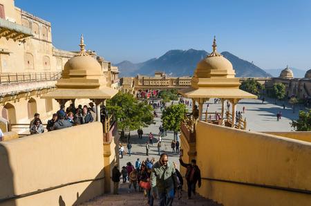 jagmandir: Jaipur, India - December 29, 2014: Tourists visit Amber Fort in Jaipur, Rajasthan, India on December29, 2014. The Fort was built by Raja Man Singh I. Editorial