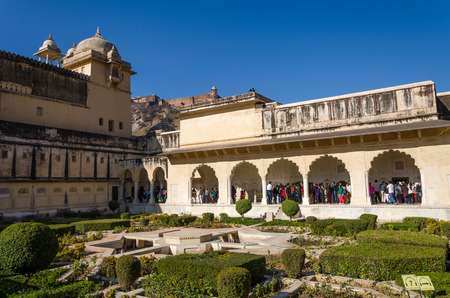 3rd ancient: Jaipur, India - December 29, 2014: Tourist visit Sukh Niwas the Third Courtyard in Amber Fort in Jaipur, Rajasthan, India on December 29, 2014. The third courtyard is where the private quarters of the Maharaja, his family and attendants were built.