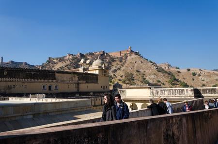 jagmandir: Jaipur, India - December 29, 2014: Tourists visit Amber Fort near Jaipur, Rajasthan, India on December29, 2014. The Fort was built by Raja Man Singh I. Editorial