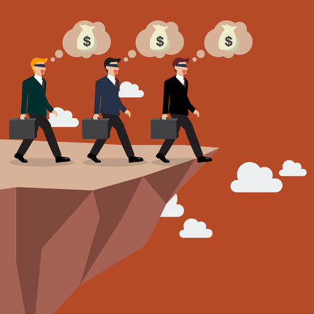 foolish: Businessmans walk straight into the abyss. Vector Illustration Illustration