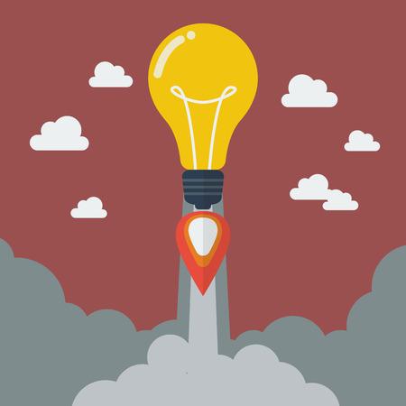 new business: Lightbulb idea rocket. Project start up new business. Illustration