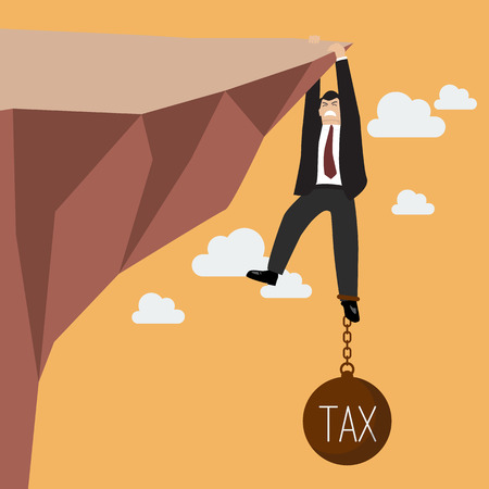 burden: Businessman try hard to hold on the cliff with tax burden. Business concept