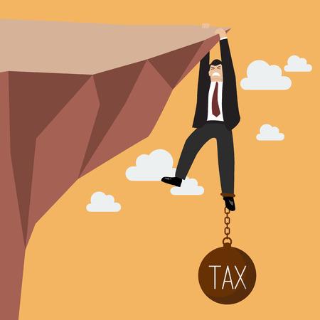 El hombre de negocios se esfuerzan para mantener en el acantilado con carga impositiva. Concepto de negocio Foto de archivo - 43528166
