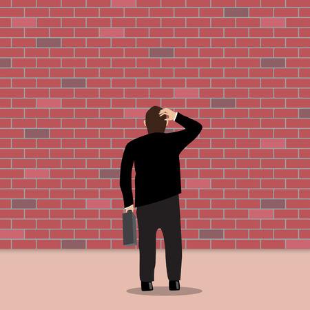 ponder: Business people stopped by a brick wall. Business Dead End Illustration