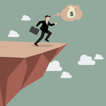 bluff: Businessman takes a leap of faith on Clifftop. Vector Illustration