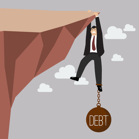 Businessman try hard to hold on the cliff with debt burden. Business concept Vectores