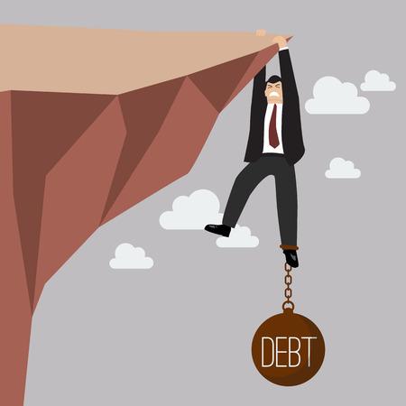 Zakenman hard proberen te houden op de klif met een schuldenlast. Business concept