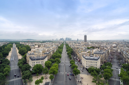 elysees: Champs Elysees to La Defense from the Arc de Triomphe in Paris, France