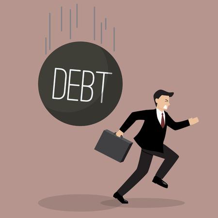 run away: Businessman run away from heavy debt. Business finance concept