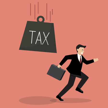 run away: Businessman run away from heavy tax. Business finance concept Illustration