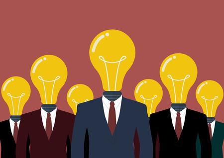 inteligencia: Hombres de negocios con una cabeza de bombilla. Negocios Trabajo en equipo Concepto