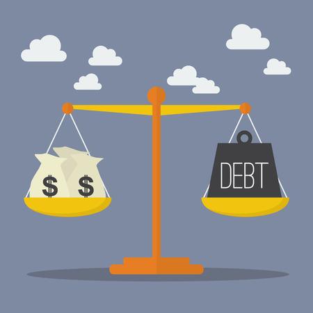 スケールのお金と債務のバランス。ビジネス コンセプト  イラスト・ベクター素材