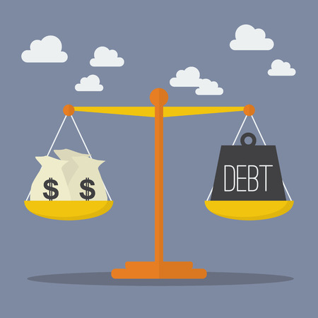 Money and Debt balance on the scale. Business Concept
