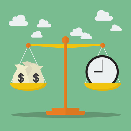 time pressure: Money and Time balance on the scale. Business Concept
