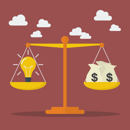 Lightbulb ideas and money balance on the scale. Business Concept 일러스트
