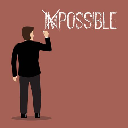 possible: Businessman changing the word impossible into possible. Motivation concept