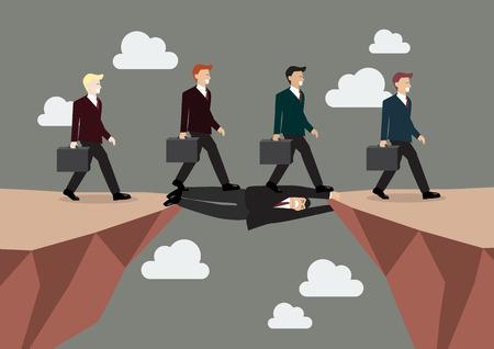 peligro: El hombre de negocios está colocando en todo el acantilado para que los demás felizmente pueden caminar sobre su cuerpo para seguir adelante. Concepto de negocio Vectores