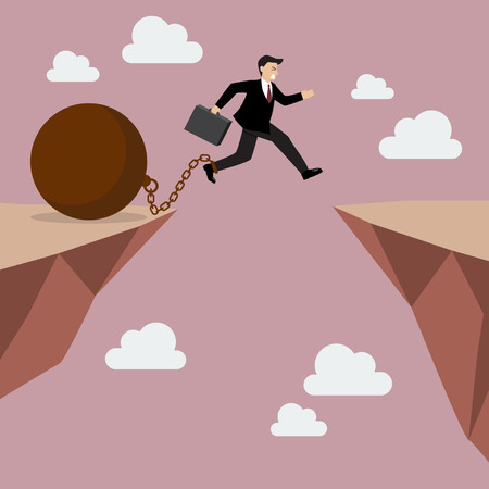 abyss: Businessman jumps the abyss with the weight. Business concept