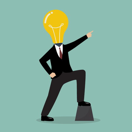 pointing up: Businessman with a light bulb head pointing up. Business concept