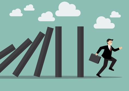 domino effect: Businessman run away domino effect. Business Concept Illustration