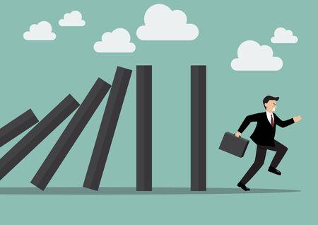 run away: Businessman run away domino effect. Business Concept Illustration